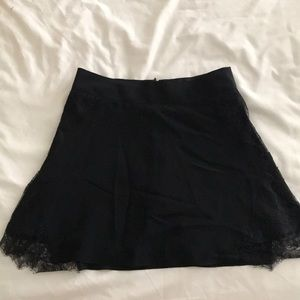 Madewell Silk and Lace Black Skirt